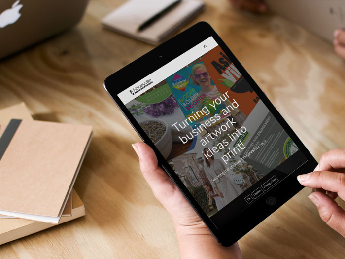 Abbeyville Printing website on Tablet Device