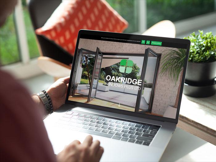 Oakridge Windows website on a desktop computer