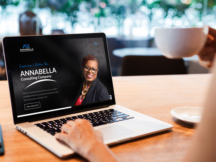 annabella consulting website on a laptop