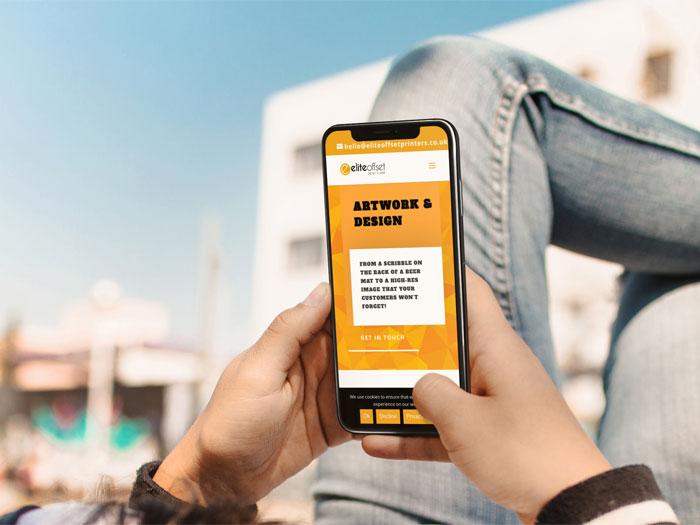 Elite offset Printers Website on a n iPhone
