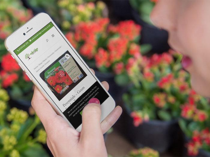 Oakridge Nursery website on a mobile device in a hand