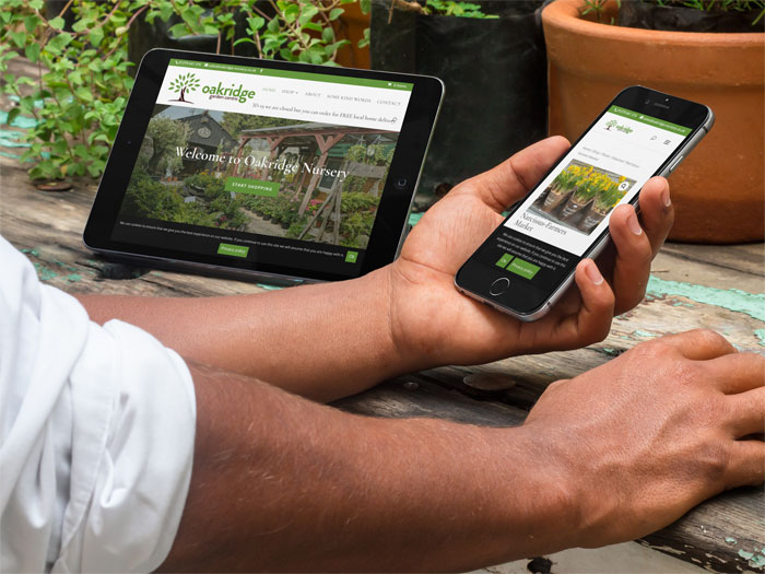 oakridge nursery website on tablet and mobile devices