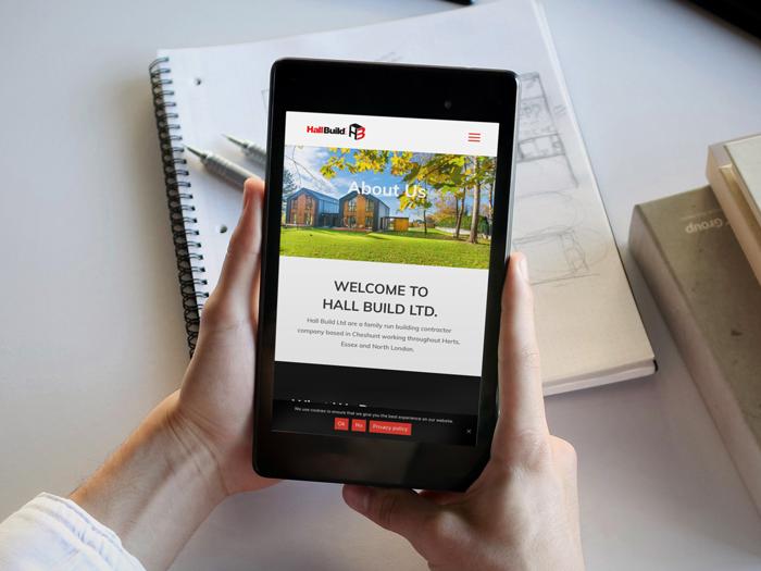 Hall build ltd Website on a tablet device