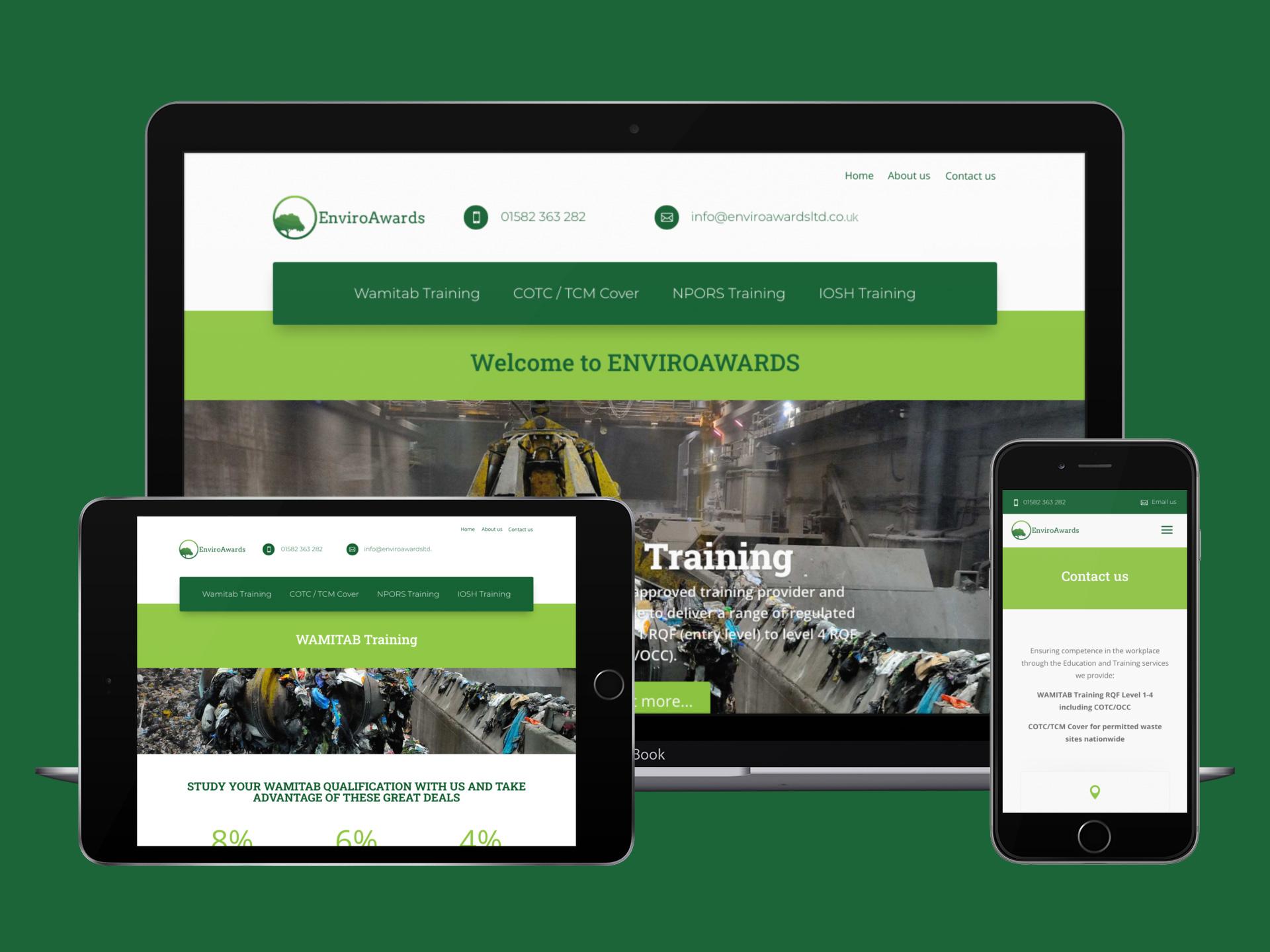 Enviroawards website on a large tablet device