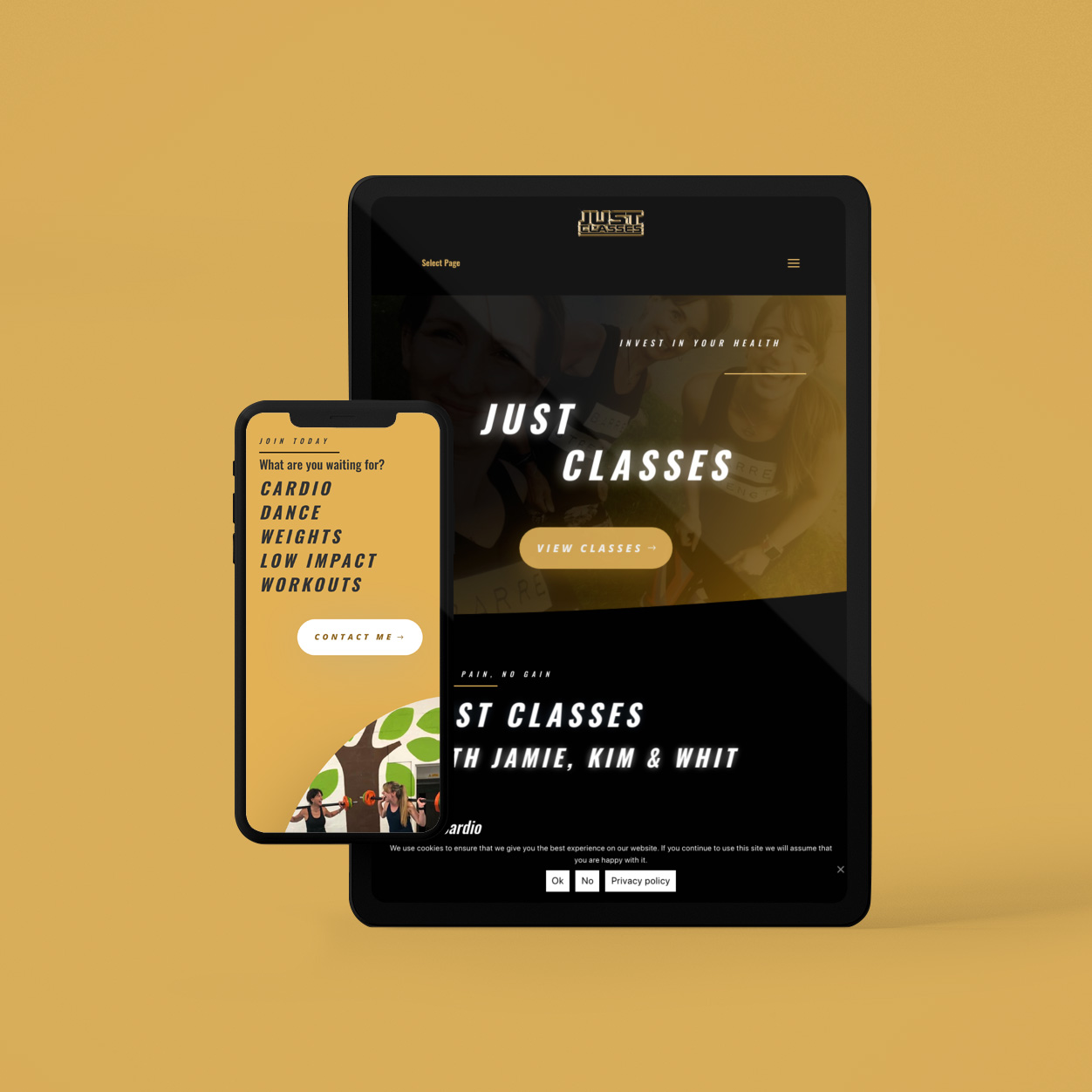 Just Classes website on multiple devices