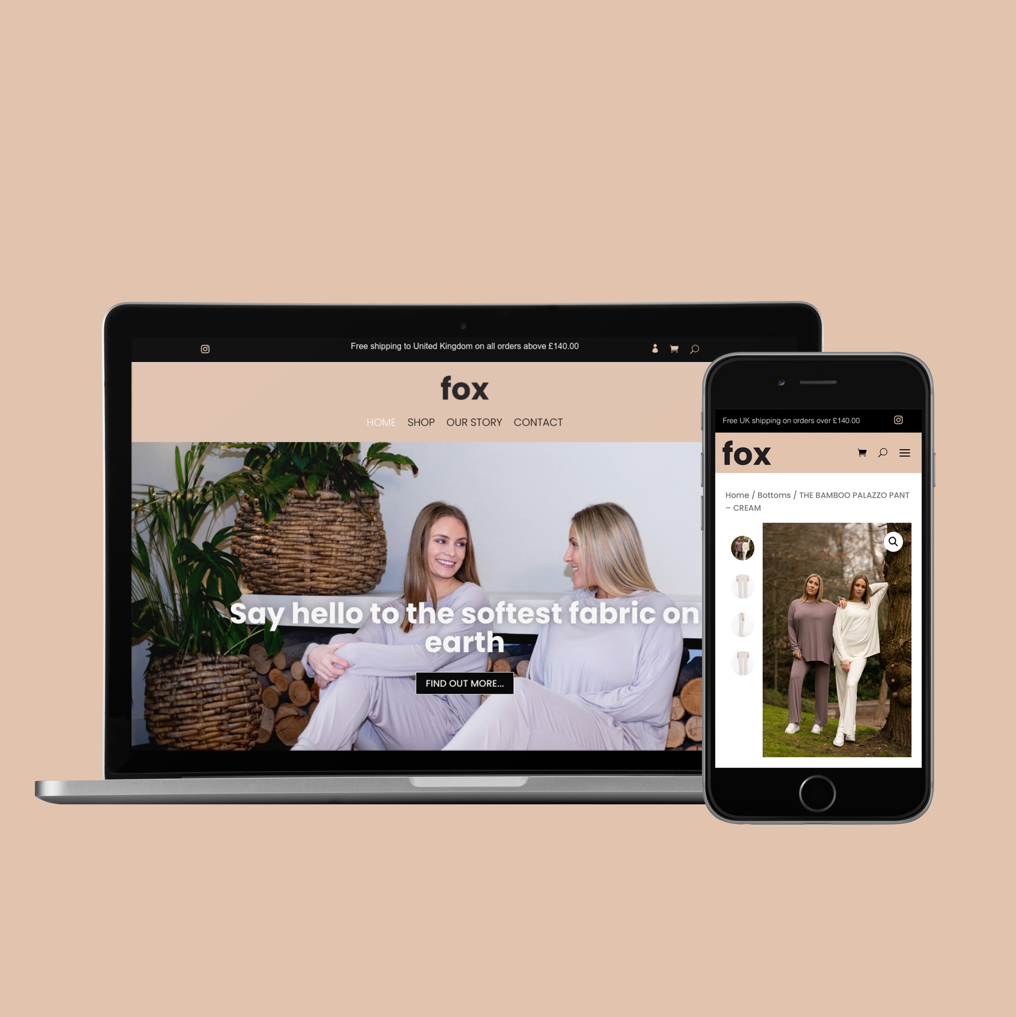 Fox Boutique London website on multiple devices
