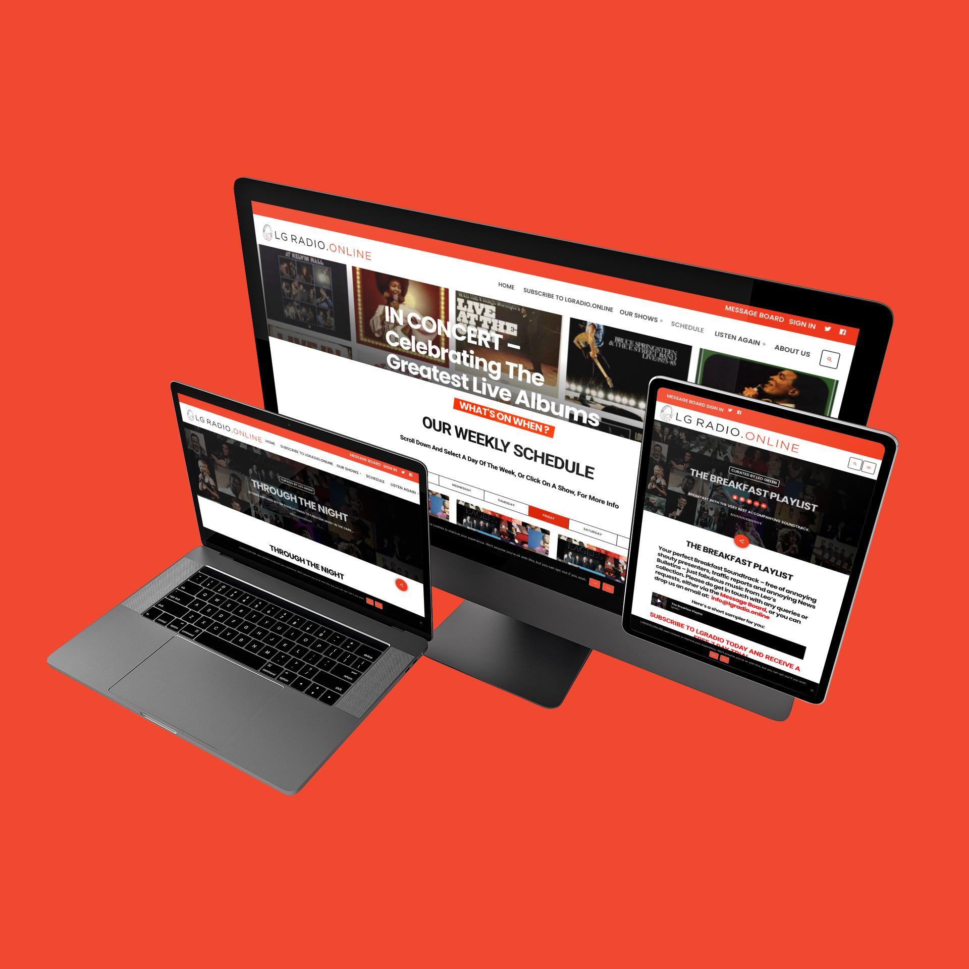 LG Radio Online website on multiple devices