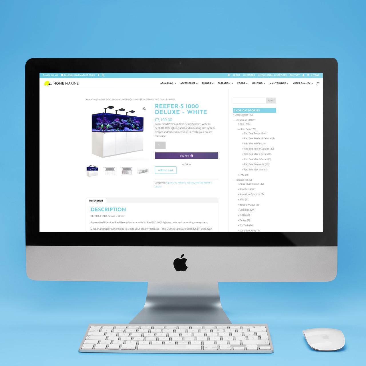 Home Marine Website on iMac